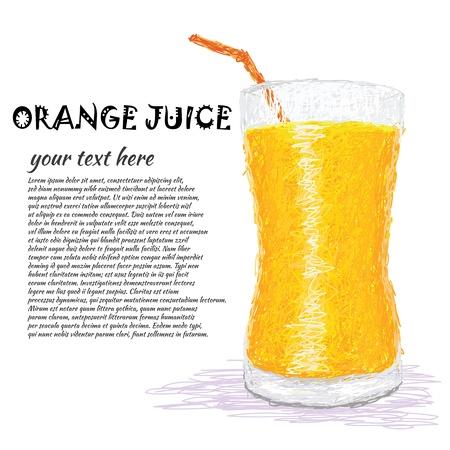 orange juice glass: illustrazione, primo piano di un bicchiere di succo d'arancia fresco