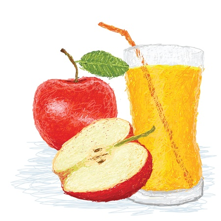 apple slice: closeup illustration of fresh apple fruit and a glass of juice