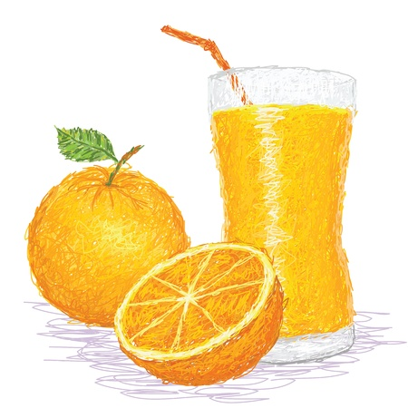 closeup illustration of a fresh orange fruit and a glass of juice. Vector
