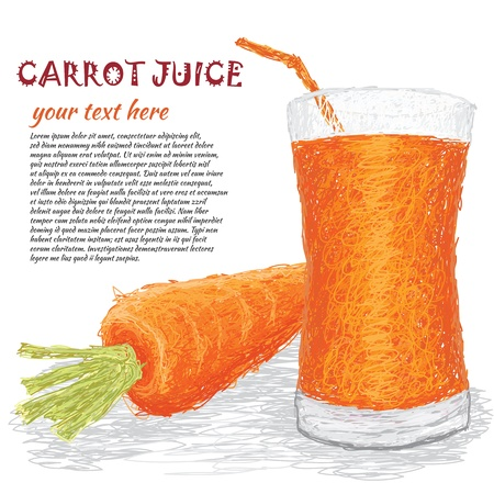 carrot juice: closeup illustration of fresh carrot vegetable and a glass of carrot juice.