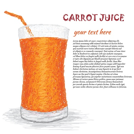 extract: closeup illustration of a fresh carrot juice extract.