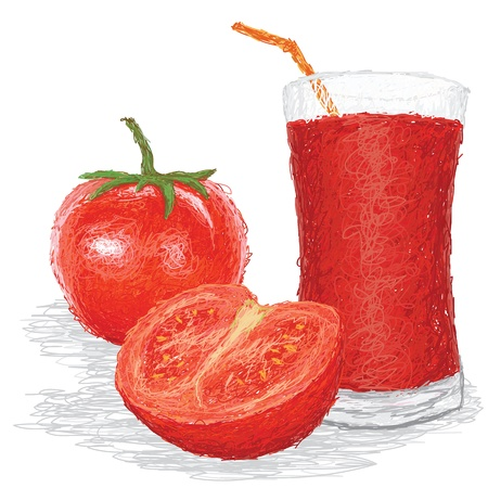 closeup illustration of fresh tomato fruit and a glass of juice isolated in white background.
