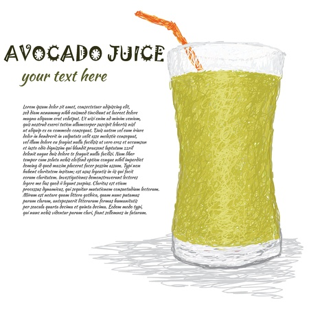smoothie: closeup illustration of a fresh glass of avocado fruit. Illustration