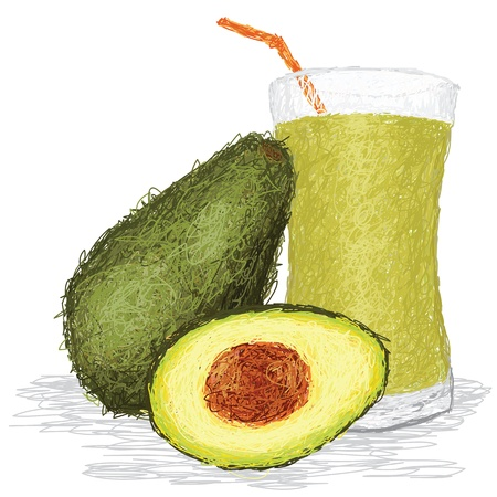 closeup illustration of fresh avocado fruit and avocado juice isolated in white.