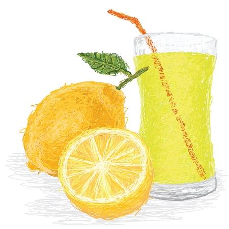 closeup illustration of fresh lemon fruit and juice isolated in white background