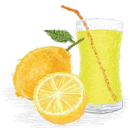 closeup illustration of fresh lemon fruit and juice isolated in white background