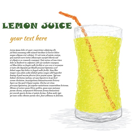 closeup illustration of fresh glass of lemon juice  Vector