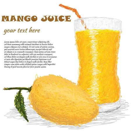 closeup illustration of fresh mango fruit and mango juice isolated in white background