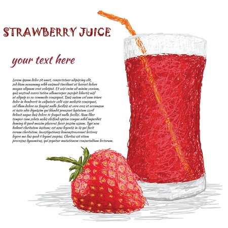 fruit drink: closeup illustration of fresh strawbery fruit and strawberry juice isolated in white background