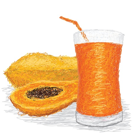 smoothie: closeup illustration of fresh papaya fruit and papaya juice isolated in white background