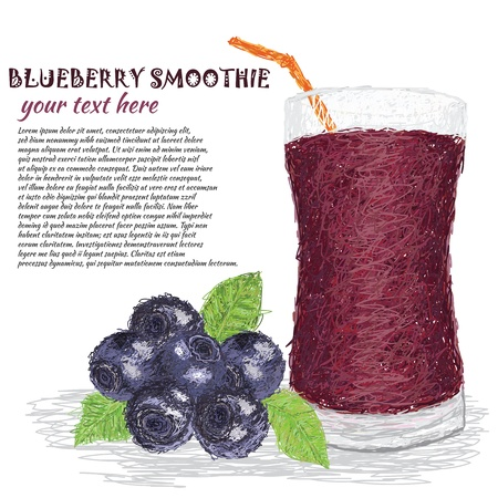 cold drinks: closeup illustration of fresh blueberries and glass of blueberry smoothie isolated in white background  Illustration