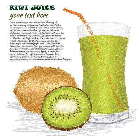 closeup illustration of fresh kiwi fruit and kiwi juice isolated in white background. Vector