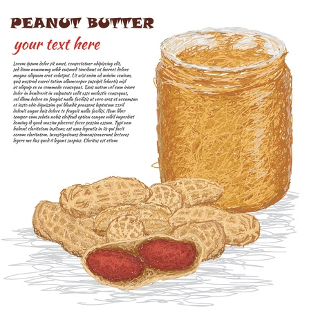 peanut: closeup illustration of peanuts and peanut butter in a glass container
