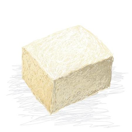 closeup illustration of fresh tofu cube isolated in white background.