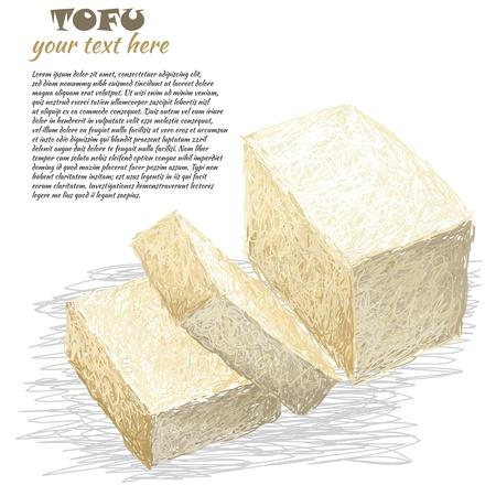 closeup illustration of fresh sliced tofu isolated in white background.