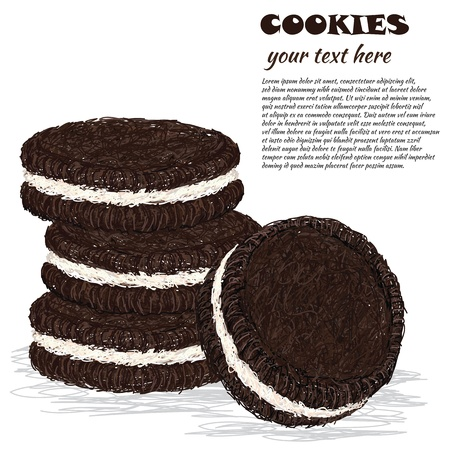 indulgence: closeup illustration of stack of chocolate cookies with cream filling