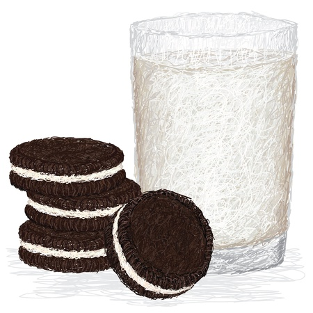 closeup illustration of fresh glass of milk and chocolate cookies with cream filling