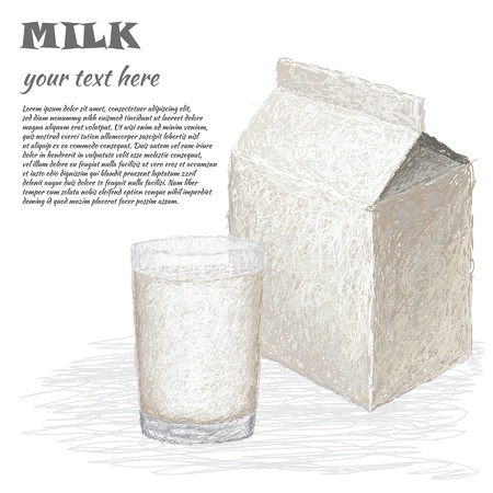 closeup illustration of box and a glass of fresh milk  Vector