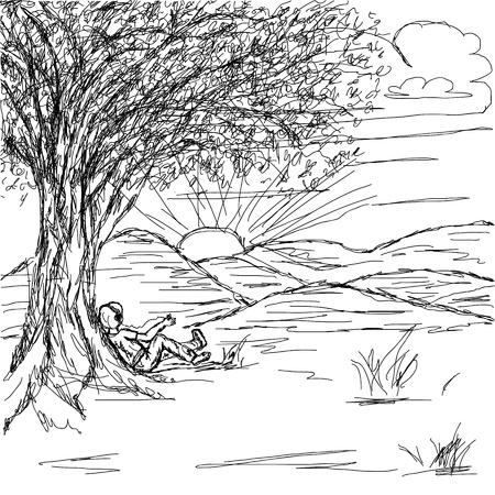 arboles blanco y negro: dibujado a mano ilustración del paisaje con el hombre descansaba bajo el árbol disfrutando de la puesta de sol escuchando su reproductor de música portátil.