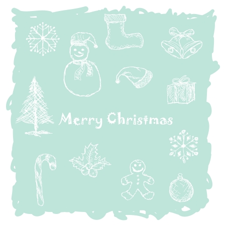 hand drawn illustration of white christmas icons, elements in light-blue background. Vector