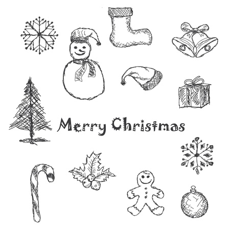 hand drawn illustration of christmas icons, elements. Vector