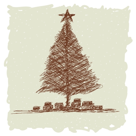 hand drawn illustration of vintage christmas tree stock vector 15488350