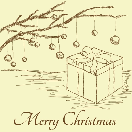 hand drawn vintage illustration of gift box with baubles hanging on christmas tree branches. Vector