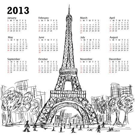 hand drawn illustration of eifel tower 2013 calendar, Paris France tourist destination.