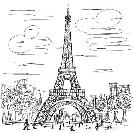 eiffel tower: dibujado a mano ilustraci�n de la torre eifel, Paris destino tur�stico de Francia.