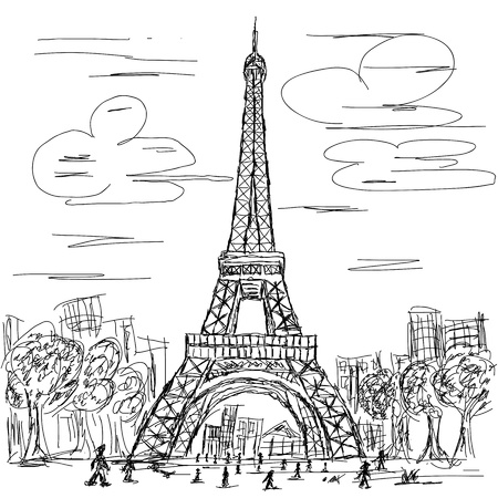 famous place: hand drawn illustration of eifel tower, Paris France tourist destination. Illustration