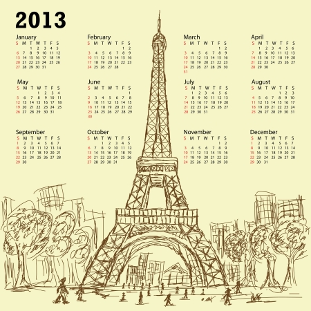 vintage hand drawn illustration of eifel tower 2013 calendar, Paris France tourist destination. Vector