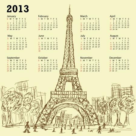 vintage hand drawn illustration of eifel tower 2013 calendar, Paris France tourist destination. Stock Vector - 15488355