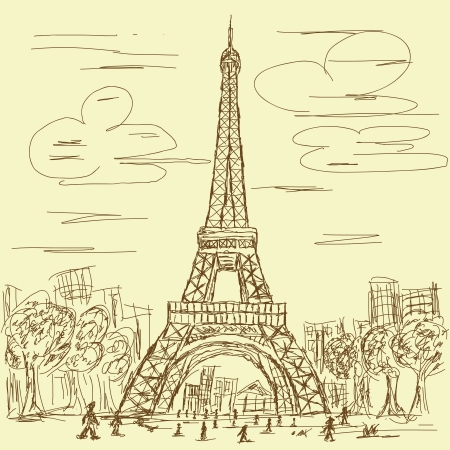 vintage hand drawn illustration of eifel tower, Paris France tourist destination. Vector