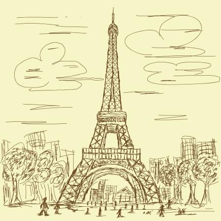 eifel: vintage hand drawn illustration of eifel tower, Paris France tourist destination.