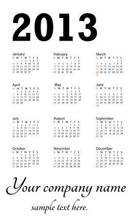 illustration of 2013 generic calendar in white background. Stock Vector - 15488358