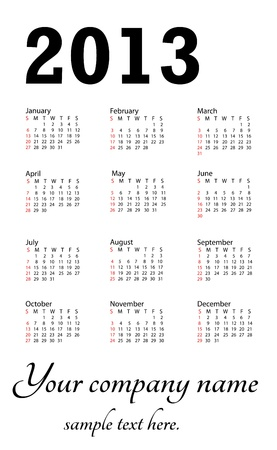 illustration of 2013 generic calendar in white background. Stock Vector - 15488358