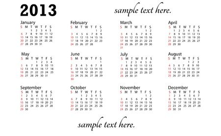 illustration of 2013 generic calendar in white background.