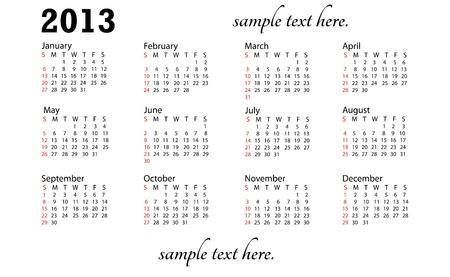 illustration of 2013 generic calendar in white background.
