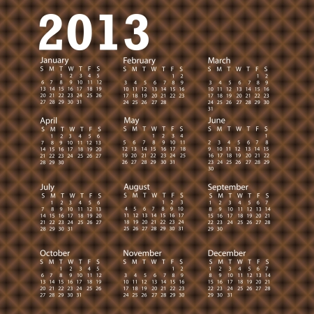 illustration of 2013 calendar with brown crossed patern background. Stock Vector - 15488359