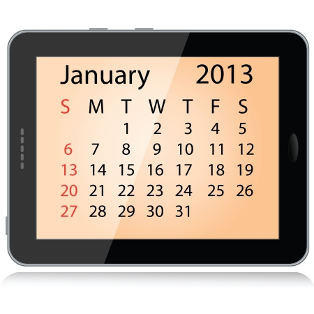 electronic organiser: illustration of january 2013 calendar framed in a tablet pc.