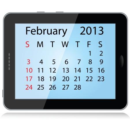 electronic organiser: illustration of february 2013 calendar framed in a tablet pc. Illustration