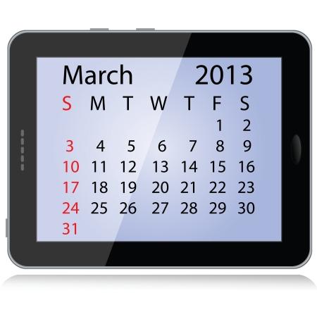 framed: illustration of march 2013 calendar framed in a tablet pc.