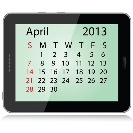 illustration of april 2013 calendar framed in a tablet pc.