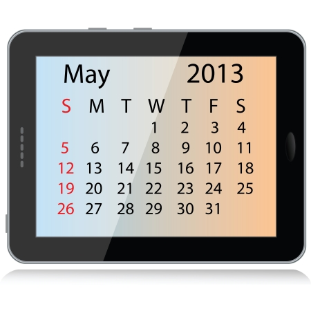 illustration of may 2013 calendar framed in a tablet pc. Stock Vector - 15145804