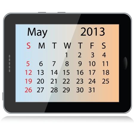 electronic organiser: illustration of may 2013 calendar framed in a tablet pc.