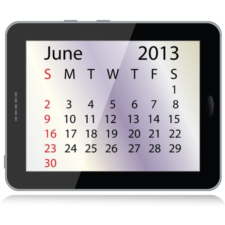 illustration of june 2013 calendar framed in a tablet pc. Stock Vector - 15145803