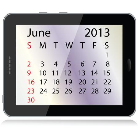illustration of june 2013 calendar framed in a tablet pc. Stock Vector - 15145803