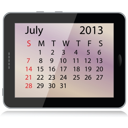 illustration of july 2013 calendar framed in a tablet pc. Vector