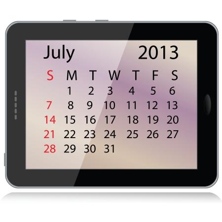illustration of july 2013 calendar framed in a tablet pc. Stock Vector - 15145802