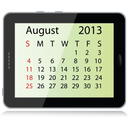 illustration of august  2013 calendar framed in a tablet pc. Vector